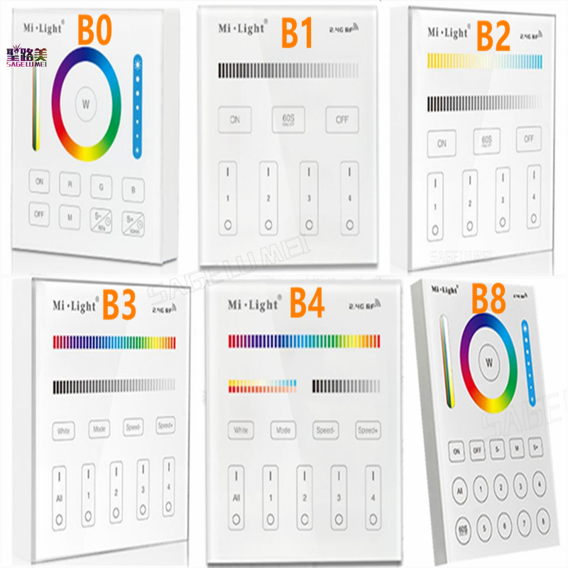 Milight B0 B1 B2 B3 B4 B8 4-Zone 8 Zone 2.4GHz Wireless WIFI Touch Panel Dimmer/RGBW/RGB + CCT LED Smart Remote Controller