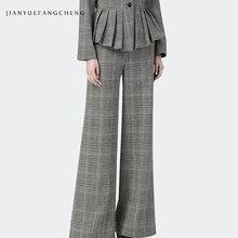 купить Fashion Wide Leg Ladies Pants 2018 Plus Size Streetwear High Waist Plaid Pants Thick Trousers Women Long Warm Winter Pantalon по цене 2653.77 рублей