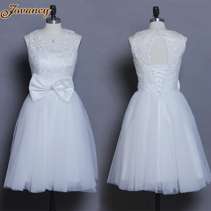 Cute princess short lace prom party dress bow white junior for Cute short white wedding dresses