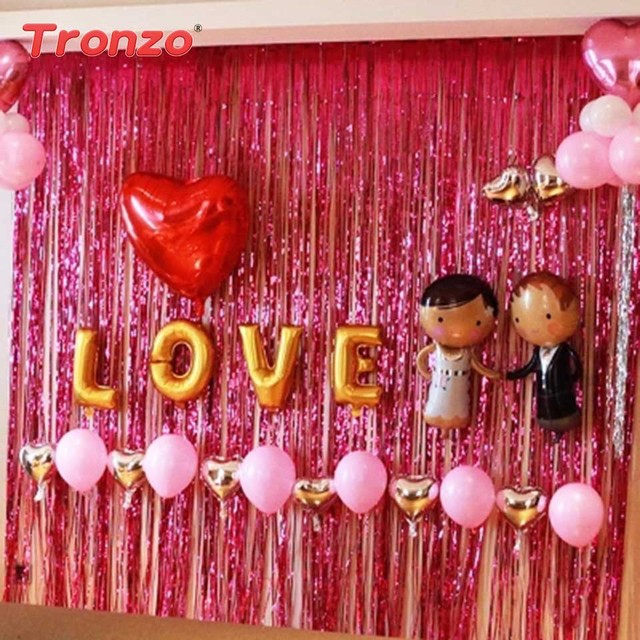 Anniversary decoration at home new house designs tronzo gold foil tinsel curtain 1m 2m silver plastic wedding anniversary decoration luxury ideas at home wedding anniversary decoration luxury junglespirit Choice Image