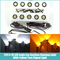Free shipping Newest 10pcs/set 23mm Car styling LED DRL Eagle Eye Daytime runing lights Warning Fog lights with turning signal
