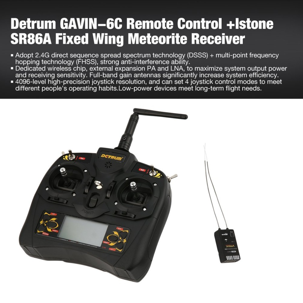 Detrum GAVIN-6C 2.4G DSSS FHSS 8 Channels Remote Control +Istone SR86A Fixed Wing Meteorite Stabilization Receiver DTM-T009 ht allblue slugger 65sp professional 3d shad fishing lure 65mm 6 5g suspend wobbler minnow 0 5 1 2m bass pike bait fishing tackle