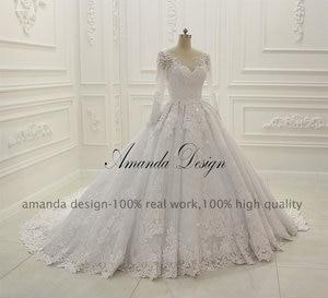 Image 3 - Abiti דה sposa יוקרה ארוך שרוול תחרה Appliqued נמוך חזרה מבריק חתונה שמלה