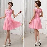 Vestidos De Fiesta Pink White Chiffon Short Formal Prom Gowns Back Lace Evening Dress Elegant Bridesmaid