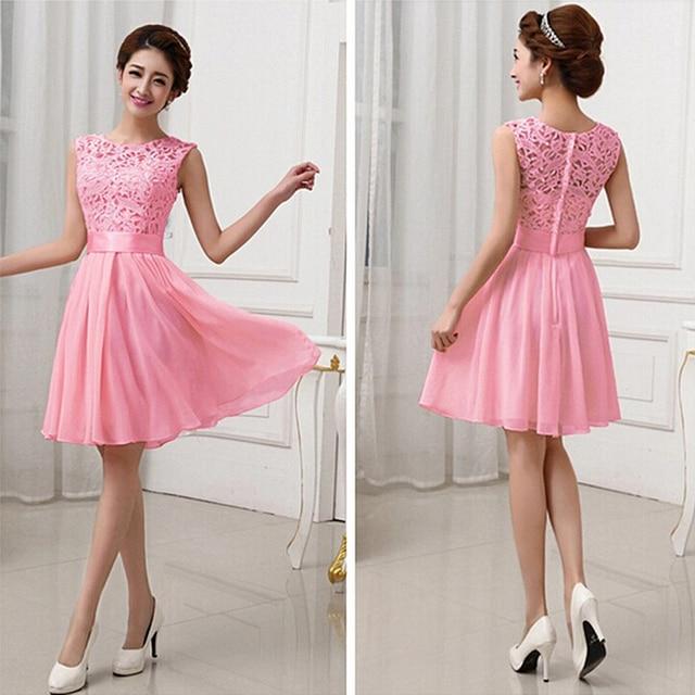 Una línea de color rosa gasa blanca vestidos formales cortos dulce ...