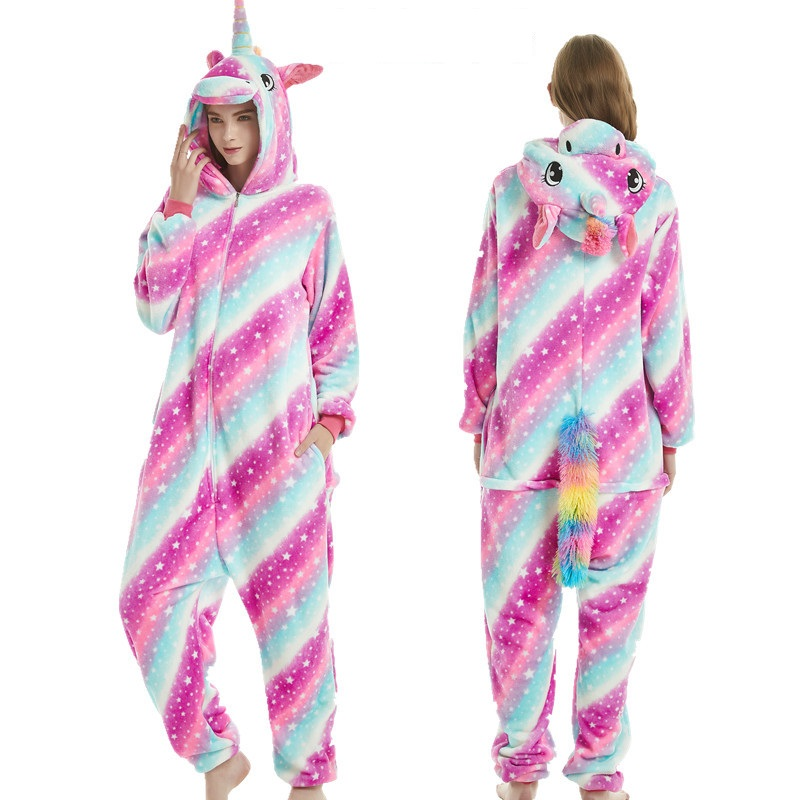 Animals Kigurumi Unicorn Costume Adult Girl Kids Unicorn Oneside Flannel Women Anime Jumpsuit Disguise Onepiece Suit
