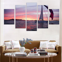 5 Panel No Frame Newly Canvas Painting Oil Print Seascape Sailing Boat Art Work For Wall