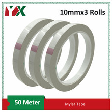 3Roll 10mm High Temperature PET Mylar Tape Adhesive Insulation Polyester Film Tape for Transformer and Electronic Components Use