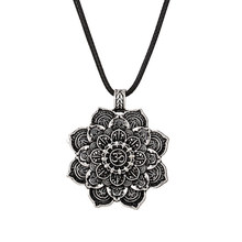 1pcs Retro Tibet Spiritual Necklace Tibet Mandala pendant Necklace geometry amulet Religious jewelry(China)