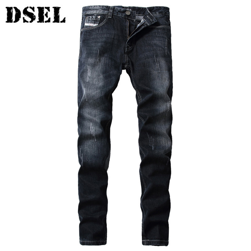 DSEL Fashion Men's Jeans High Quality Black Classic Straight Fit Stripe Ripped Jeans for Men Brand Retro Denim Biker Jeans Pant classic mid stripe men s buttons jeans ripped slim fit denim pants male high quality vintage brand clothing moto jeans men rl617