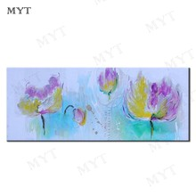 MYT Chinese Lotus Flower Pictures Large Wall Art Home Decor 100% Handpainted Oil Painting On Canvas Sets Abstract Floral Poster(China)