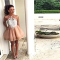 Champagne Lace Mini Women Formal Party Dresses Sheer Back Button Robe Cocktail Dress Off The Shoulder Puffy Short Prom Gowns