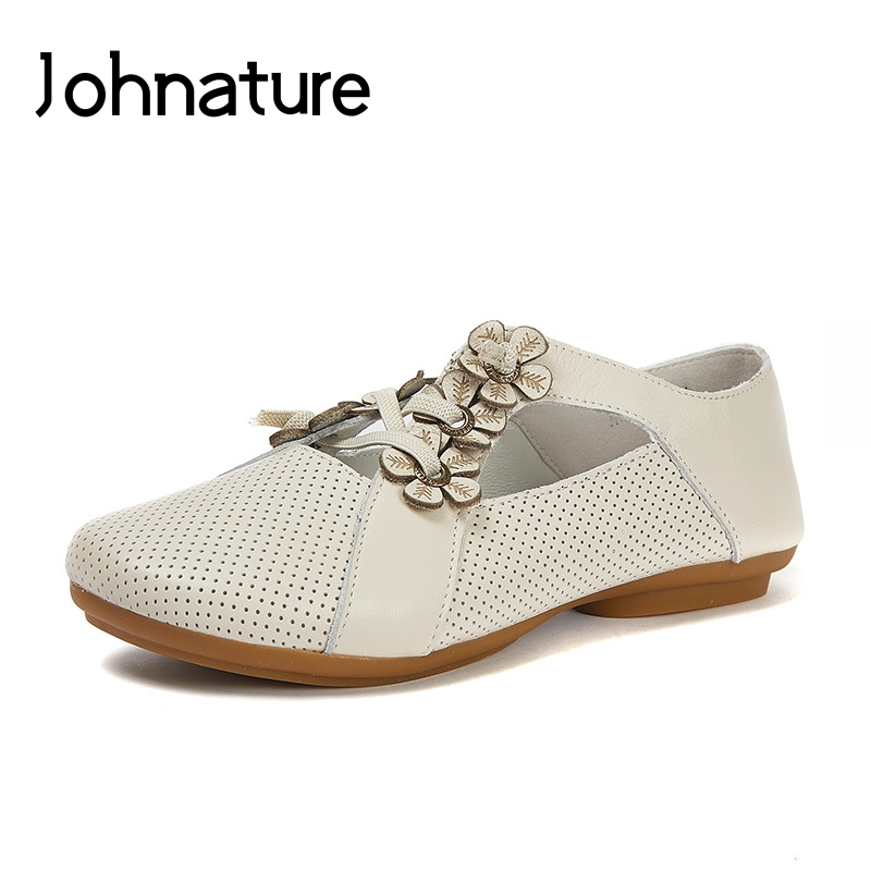 Johnature Genuine Leather Summer Flats Shoes Casual Mixed Colors Elastic Band Round Toe Flower Hollow Soft