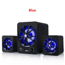 SADA D-207 Built-in Colorful LED 2.1 3 Channel Subwoofer Speaker USB Powered Computer MP3 Cellphone Active Multimedia Speakers