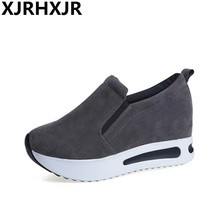 XJRHXJR Spring and Autumn 6cm Platforms Shoes for Woman Casual Fashion Comfort Walking 3 Colors Large Size 35-40