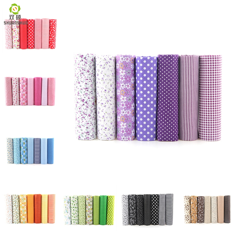 7pcs 24x24cm Mixed Printed Cotton Sewing Quilting Fabrics Basic Quality for Patchwork Needlework DIY Handmade Cloth title=