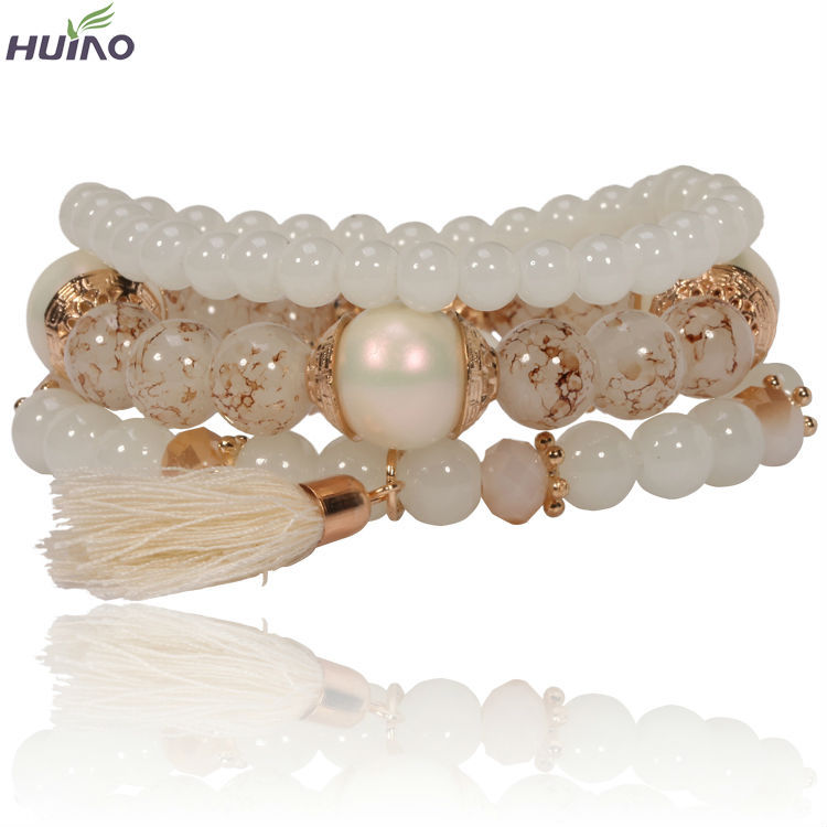 2018 New Hot Big Beads Tassel Bracelet for Women Romantic Simple Yoga Pulsera Bangles Multilayer Bead Jewelry