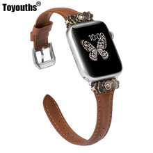 Leather Band for Apple Watch 38mm 42mm iWatch Womens Slim Metal with Unique Decoration Strap Wristband For iwatch Series 4 3 2 1(China)