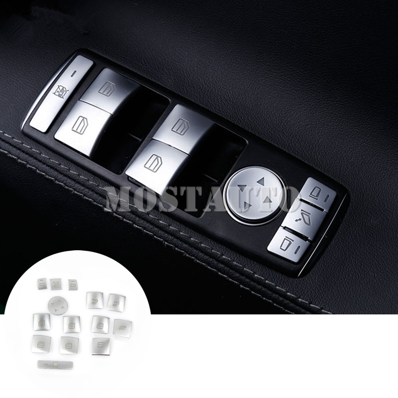 Pour Benz Classe E Coupé W207 C207 Intérieure Porte Fenêtre Commutateur couvre-boutons 2009-2016 14 pièces