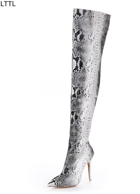 201d18bde83 LTTL Sexy Women Snake Skin High Heel Boots Gladiator Python Over the Knee  Thigh High Boots Fall Winter Best Shoes for Women