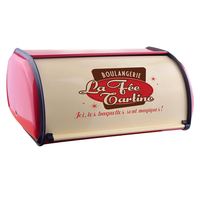 Home Rustproof Large Capacity Roll Up Top Bread Box Decorative Practical Kitchen Iron Structure Storage Lightweight Vintage