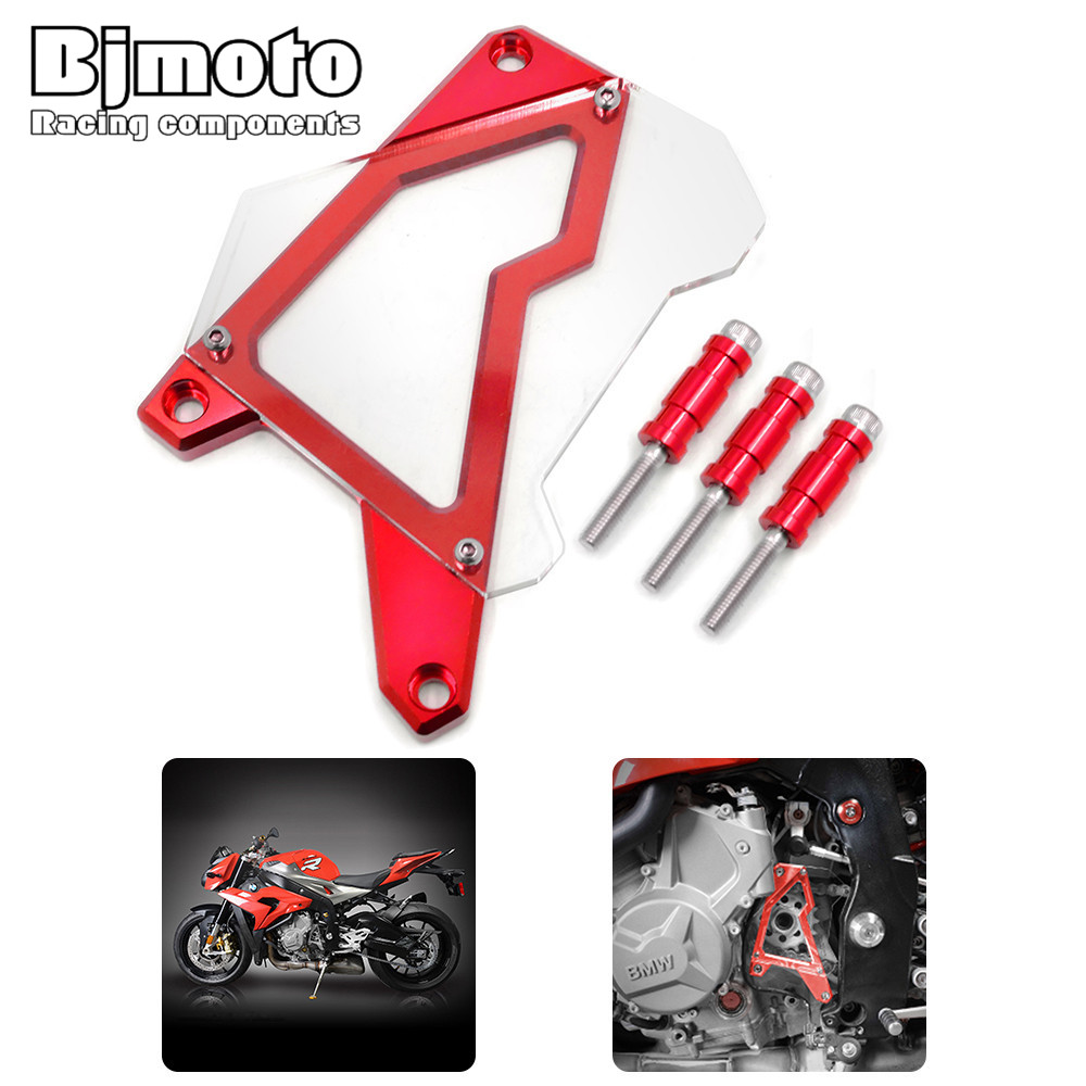 Bjmoto CNC Front Engine Chain Guard Protector Cover For BMW S1000R S1000RR HP4 S1000XR motorcycle motocross moto engine Sprocket motorcycle cnc 6 hole beveled engine side guard derby cover