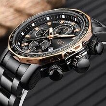 Nouveau 2019 LIGE hommes montres Top marque de luxe Sport Quartz tout acier mâle horloge militaire étanche chronographe Relogio Masculino