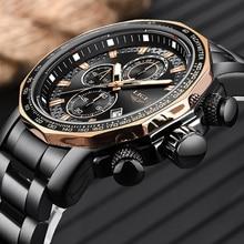 Nuevo 2019 en este momento relojes superior de la marca de lujo de deporte de Todo el acero hombre reloj impermeable militar cronógrafo reloj Masculino
