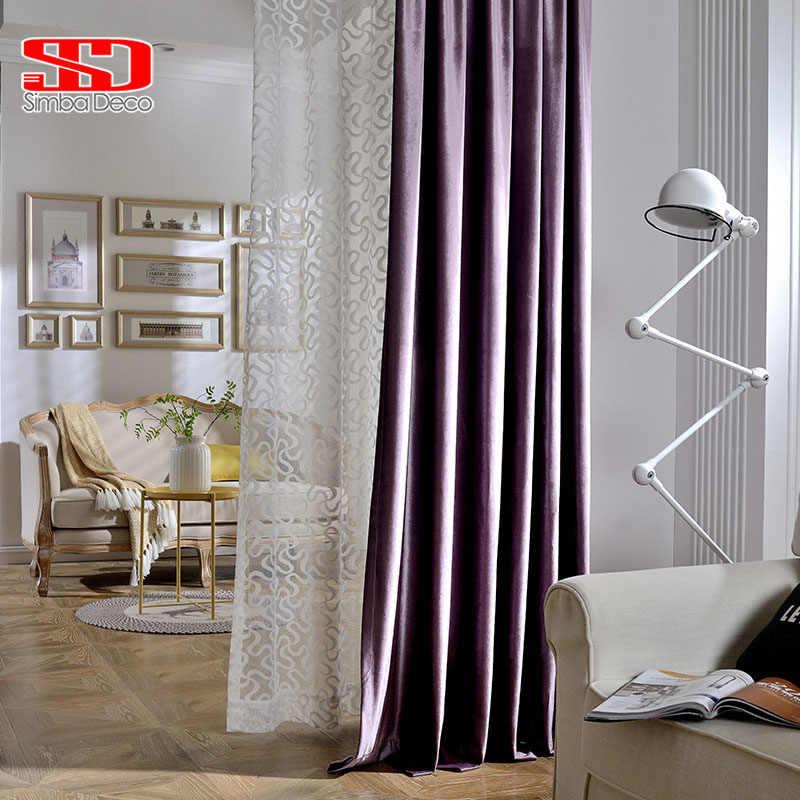 Solid Blackout Velvet Curtains For Living Room Purple Modern ...