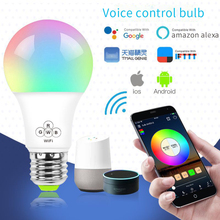 new e27 rgbw led lamp wifi smart light bulb 7w dimmable multicolor wake up lights compatible with alexa and google assistant Timethinker 6.5W WiFi Smart Light Bulb RGBW LED Lamp Dimmable Multicolor Wake-Up Lights,Compatible with Alexa Google Assistant