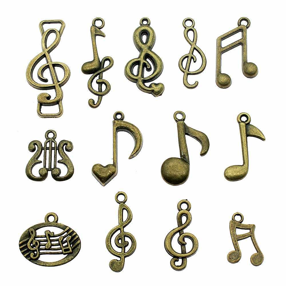 15 sztuk Charms Musical uwaga Antique Bronze Plated Musical uwaga piękna biżuteria ustalenia muzyczne uwaga Charms