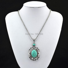N17 Green Turquoise Stone Natural Stone Necklace Pendant Jewlery Women ,Vintage Look,Tibet Alloy, free shipping, wholesaler