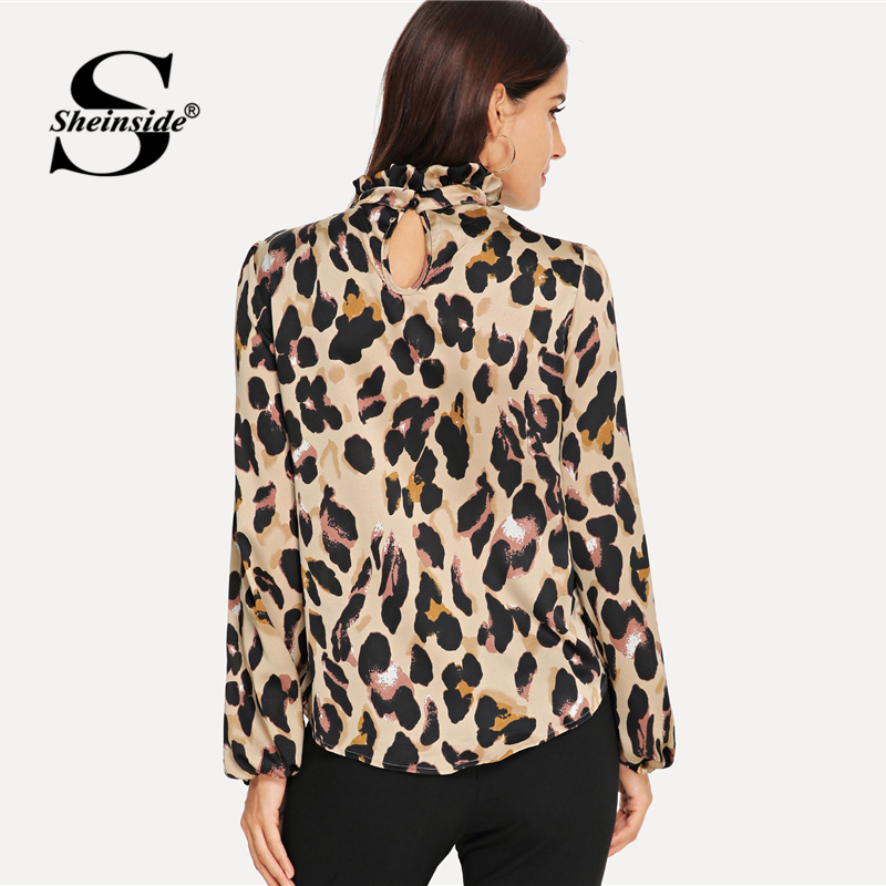 8fedc18478837d Sheinside Multicolor Mock Neck Leopard Print Frill Top Casual Stand Collar  Bishop Sleeve Blouses Women Autumn Elegant Tops -in Blouses & Shirts from  Women's ...