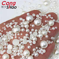Fondo plano medio redondo perla artesanía ABS imitación perla acrílico diamantes de imitación Scrapbook cuentas 3D no HotFix decoración de uñas WC134
