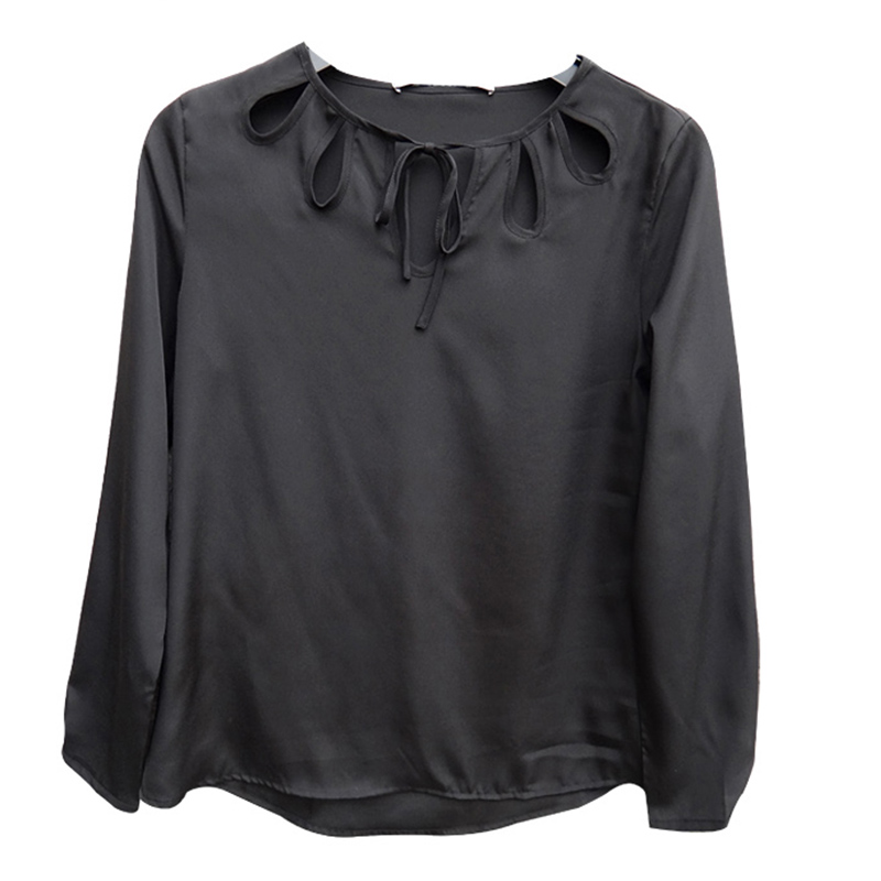 Hodoyi Fashion Solid Color Women Shirts Long Sleeve Crew Neck Pullovers Chiffon Tops Women Cut Out Loose Casual Blouses