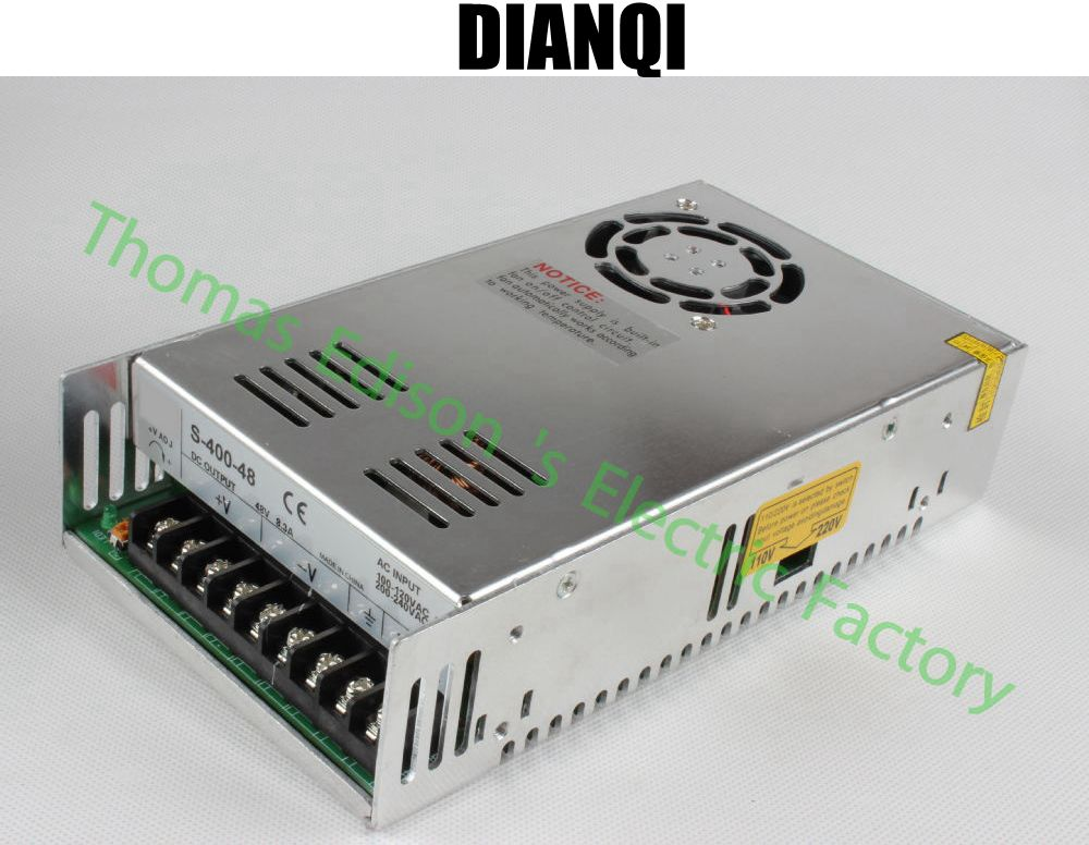 цены DIANQI led power supply switch 400W 48v 8.3A ac dc converter S-400w 48v variable dc voltage regulator S-400-48