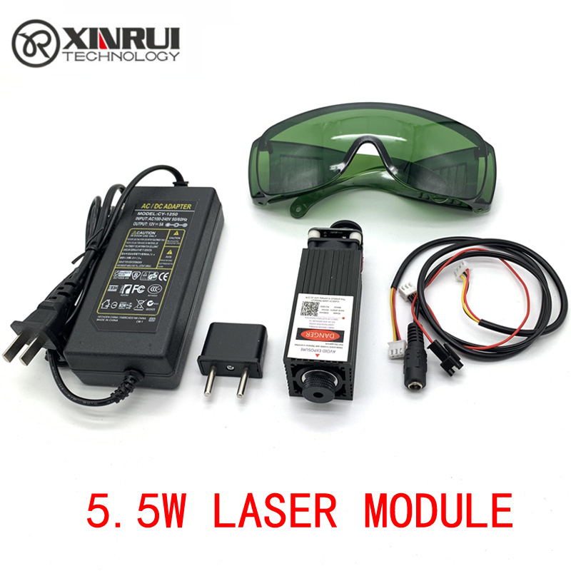 Free Shipping 450nm 5500mW 12V High Power TTL Adjustable Focus Blue Laser Module DIY Laser engraver