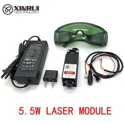 Free Shipping 450nm 5500mW 12V High Power TTL Adjustable Focus Blue Laser Module DIY Laser engraver accessories 5.5W laser head