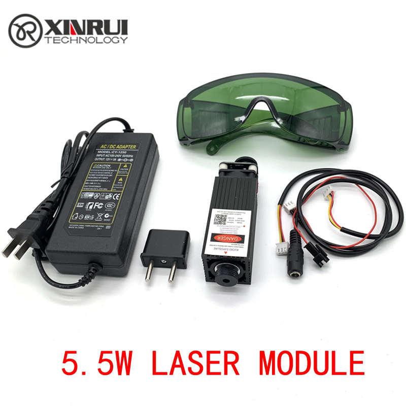 Freies Verschiffen 450nm 5500 mW 12 V High Power TTL Einstellbarer Fokus Blau Laser Modul DIY Laser stecher zubehör 5,5 W laser kopf