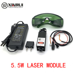 Gratis Verzending 450nm 5500 mW 12 V High Power TTL Instelbare Focus Blauwe Laser Module DIY Laser graveur accessoires 5.5 W laser hoofd