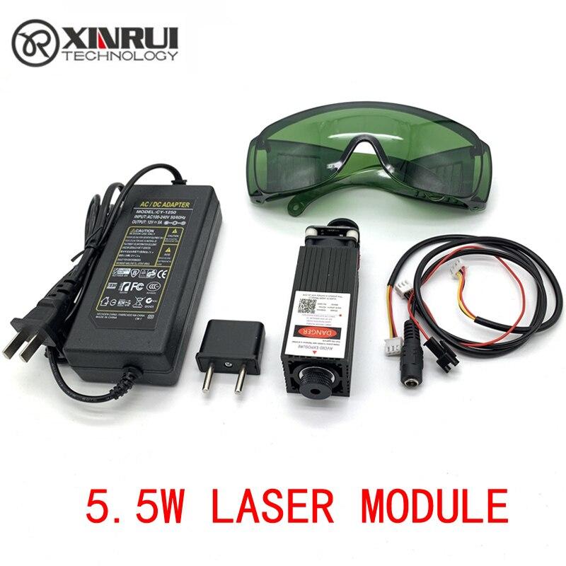 Livraison gratuite 450nm 5500 mW 12 V haute puissance TTL mise au point réglable Module Laser bleu bricolage Laser graveur accessoires 5.5 W tête laser