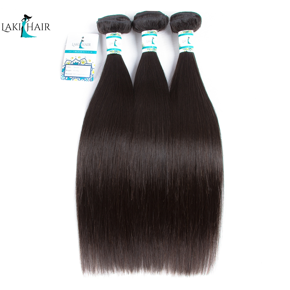 Wavy Hair Bundles 3 Bundles Straight Hair Peruvian Hair Extention 100% Remy Hair 10-26inch Natural Color Free Shipping LaKihair