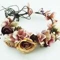 Hecho a mano Mujer Venda de La Flor Del Banquete de Boda Tela Pelo de la Flor de la Guirnalda del pelo Corona Celada Boho Floral corona