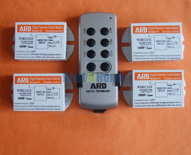 Free Shipping (ARD-A1-4) four-way split Remote Control Switch Home lamp Lighting #BK107 @CF free shipping 86hy c4 220v four way hesunse ir remote control switch for lighting exhibition hall black color