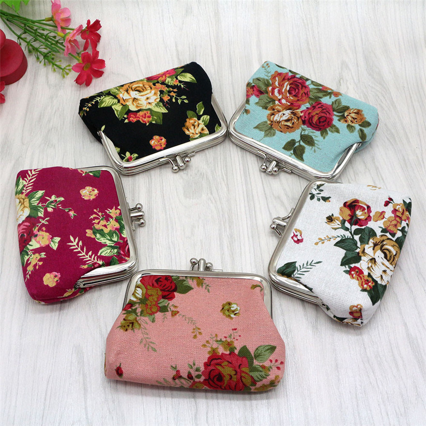 3 Colours Women Lady Retro Vintage Flower Small Wallet Snacks Coin Purse Wallet Bag Change Pouch Clutch Bags ID Card Hasp Purse