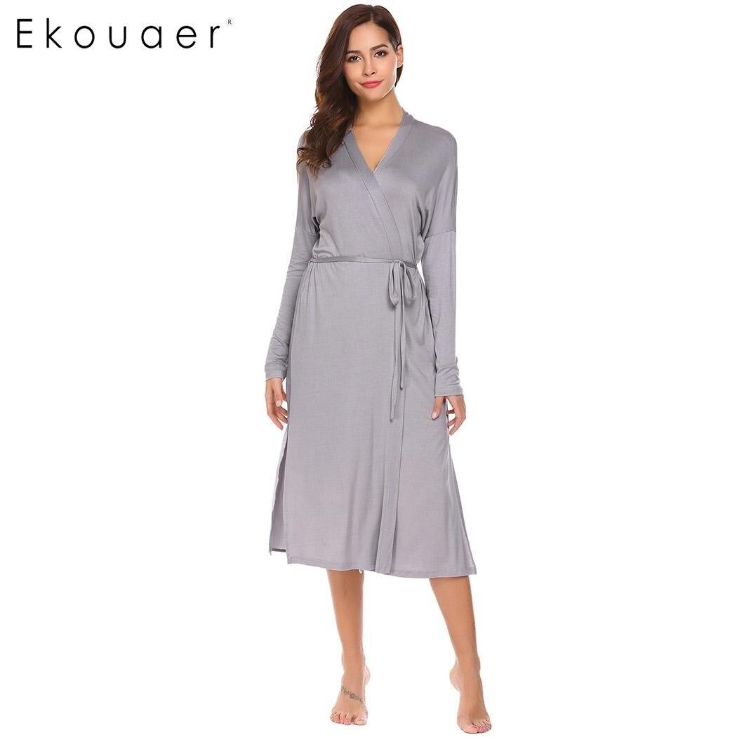 Ekouaer Mulheres Robe de Manga Comprida de Volta Dupla Camada Sólida Sleepwear Roupão de banho com Cinto Meados Bezerro Gola Xale Vestido de Noite vestidowomen robebath robewomen robe long -