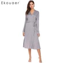 Ekouaer رداء المرأة كم طويل الصلبة الظهر مزدوجة الطبقات ملابس خاصة روب استحمام مع حزام منتصف العجل شال طوق فستان سهرة ثوب