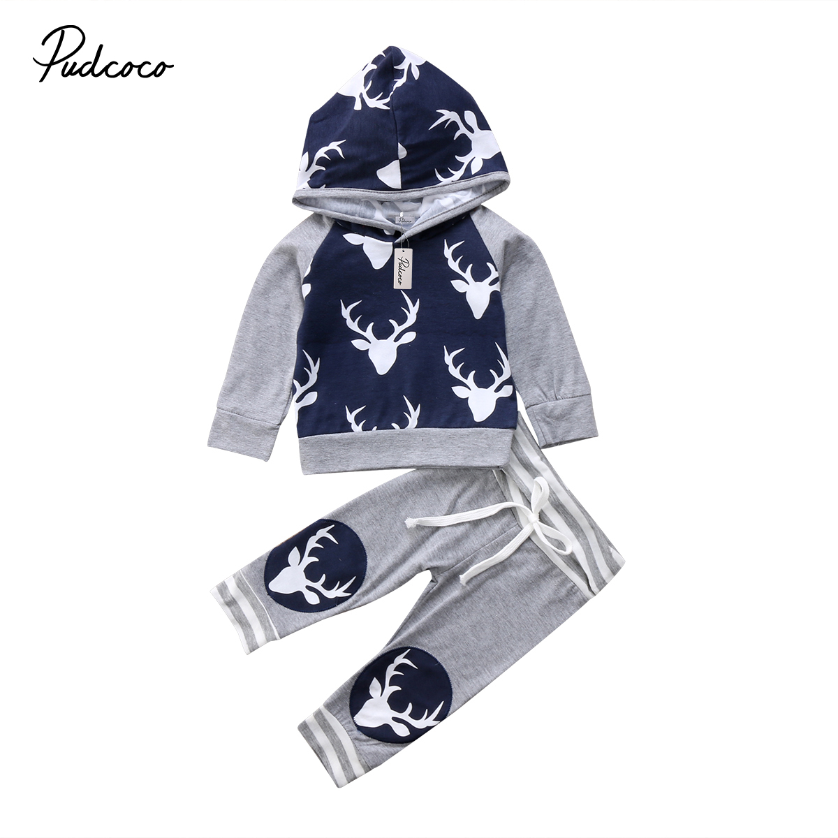 Pudcoco 2Pcs Newborn Toddler Baby Boys Clothes Deer Hooded Tops Long Pants Outfits Set 6-24Months Helen115