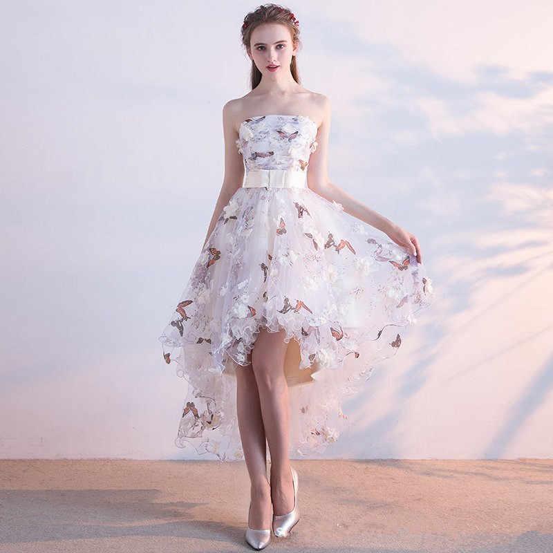 6ad1e06f584 ... Это yiiya платье без лямок на шнуровке High-low асимметрия Винтаж  Элегантные цветы из тафты ...