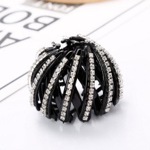 Hot Sale Women Rhinestone Simulated-pearl Plastic Hair Bun Hair Claws Black Brown Full of Rhinestones Hair Clips Hair Maker